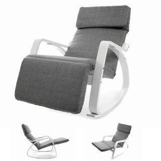 VECOTTI Schaukelstuhl Relaxstuhl mit Verstellbarer Fußstütze