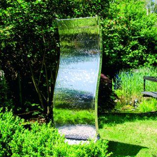 """Köhko Wasserwand """"Otter"""" mit LED-Beleuchtung aus Edelstahl 23002 Springbrunnen Wasserspiel"""