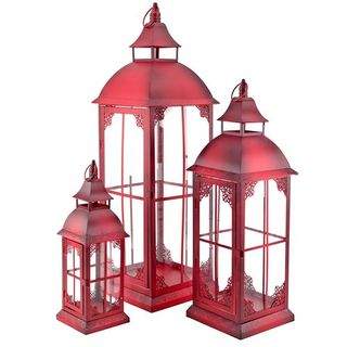 art decor Laterne Rot Metalllaterne