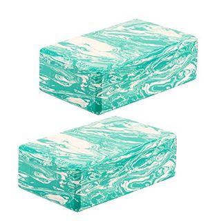 Eduro 2er Set Yogablöcke grün-weiß marmoriert