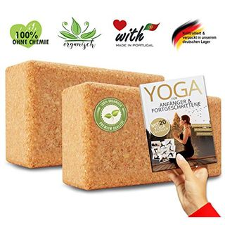AMITYUNION Yogablock Kork Set 2-100% Natur