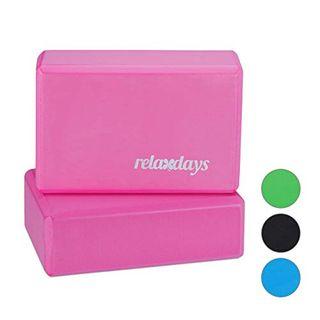 Relaxdays Unisex Erwachsene Pink Yogablock im 2er Set