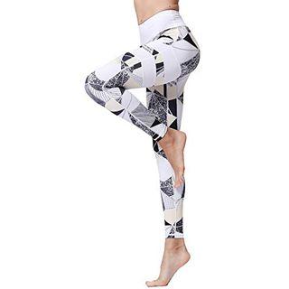 FLYILY Frauen Yoga Pants Gedruckt hohe Taillen-Power Flex