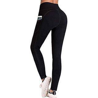 IUGA Hohe Taille Yoga Hose Taschen-Design Mittel Schwarze