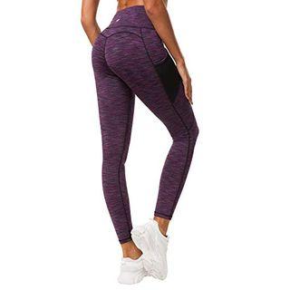QUEENIEKE Damen Yoga Leggings Mesh Mittlere Taille 3 Handytasche