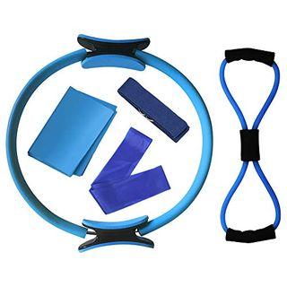 Lixada Yoga Set 5pcs Yoga Ausrüstungsset Pilates Ring Yoga Baumwollgurt-Widerstandsgurt-Band