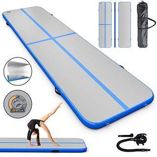 Air Aufblasbar Track Board Turnmatte Mit Elektropumpe Yoga Wassersport Grün