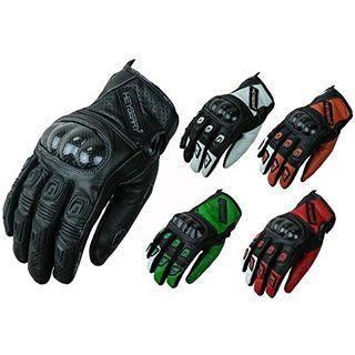 HEYBERRY Motorradhandschuhe Leder Motorrad Handschuhe kurz schwarz