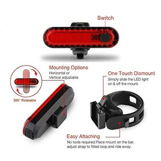 Pezimu Fahrradlicht LED Set USB Wiederaufladbare Frontlicht Rücklicht Wasserdicht Fahrradlichter Fahrradbeleuchtung