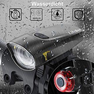 LIFEBEE LED Fahrradlicht StVZO Zugelassen USB Wiederaufladbare Fahrradbeleuchtung