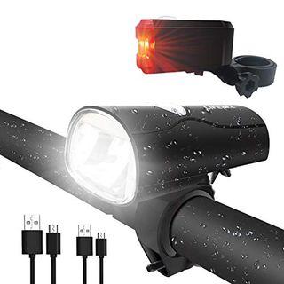LIFEBEE LED Fahrradlicht LED Fahrradbeleuchtung StVZO Zugelassen USB Wiederaufladbare