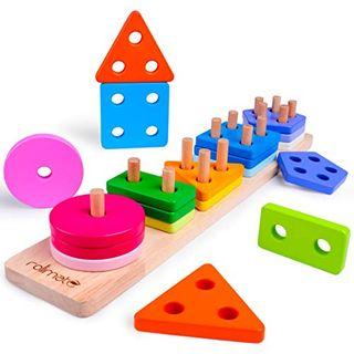 Rolimate Steckplatte Holz Holzpuzzles Sortierspiel Holzsteckspiel