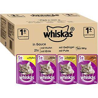 Whiskas 1 Katzenfutter Geflügel-Auswahl in Sauce