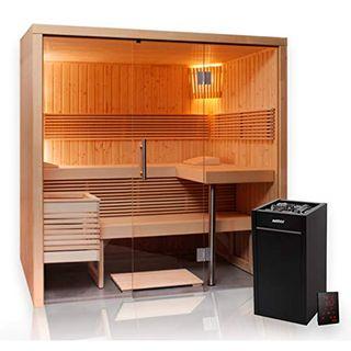 Sauna 214 x 160 Glas Harvia Virta Saunaofen HL90 Xenio Steuergerät