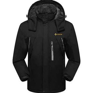 GEMYSE wasserdichte Skijacke für Herren Winddichte Fleece Outdoor-Winterjacke mit Kapuze