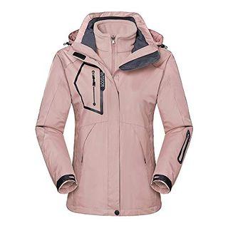 TOKYMOON Skijacke Damen 3-in-1 Jacke Wasserdicht Fleece Gefüttert