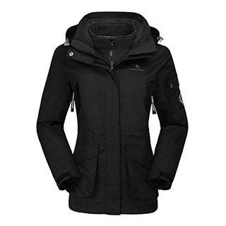 CAMEL CROWN Damen Ski 3-in-1-Jacke 2 Stück Set Outdoor Wasserdicht Winddicht