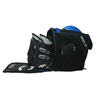 Driver13 Skischuhtasche Skistiefeltasche mit Helmfach für Hart Softboots Inliner und Bootbag Tasche schwarz-blau