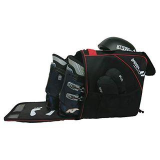 Driver13 Skischuhtasche Skistiefeltasche mit Helmfach für Hart Softboots Inliner und Bootbag Tasche schwarz-rot