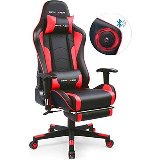GTPLAYER Gaming Stuhl mit Fußstützen Bluetooth Lautsprecher Musik Stuhl Ergonomischer