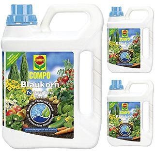 3 x 2,5 Liter Compo Blaukorn NovaTec flüssig Universaldünger