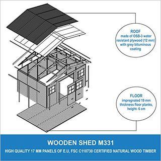 TIMBELA Holz Gartenschuppen MIT Imprägniertem Boden