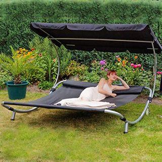 Loywe Sonnenliege Doppelliege Mit Dach Fur 2 Personen Doppel Gartenliege Mit Sonnendach Fur Garten Im Doppelliege Vergleich 2021