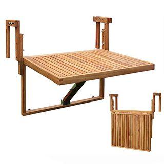 INTERBUILD Toronto Balkon Klappdeck Tisch verstellbar 60 x 70 cm FSC Akazienholz