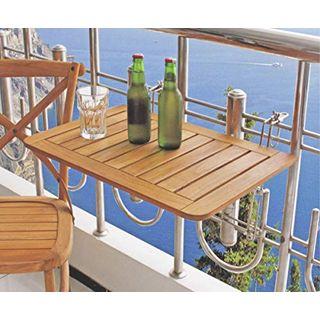 Dynamic24 Balkon Klapptisch Teak Holz Hängetisch Tisch Balkon