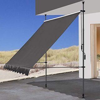 QUICK STAR Klemmmarkise 300 x130cm Grau Balkonmarkise Sonnenschutz