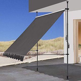 QUICK STAR Klemmmarkise 250x130cm Grau Balkonmarkise Sonnenschutz
