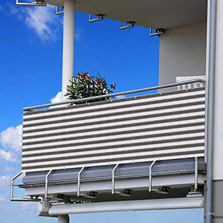 Becoyou Balkon Sichtschutz Sichtschutz Balkon 90 * 500cm Sichtschutz Garten Grau Weiß