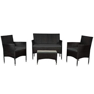 ArtLife Polyrattan Gartenmöbel-Set Fort Myers schwarz