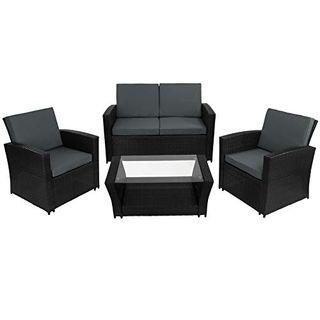 Montafox 12-teilige Polyrattan Sitzgruppe 4 Personen 5 cm Sitzpolster