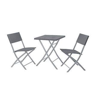 SVITA Poly-Rattan Bistro-Set Tisch Stuhl Balkon-Set Klappbar