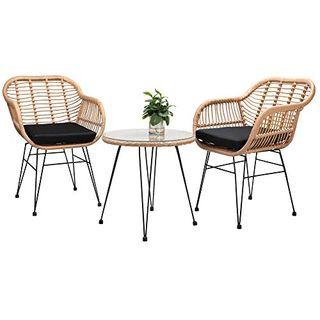 Casaria 3 TLG Balkonset Beistelltisch 2 Lounge Sessel Indoor Outdoor