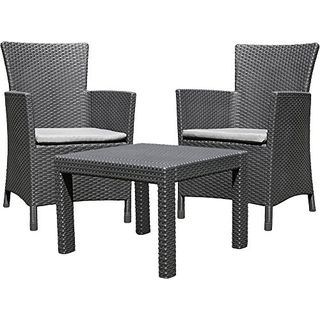 Allibert 219992 Lounge Set Rosario Balcony 2x Sessel und 1x Tisch
