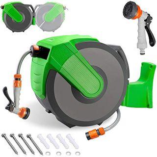 Gardebruk Schlauchtrommel 30 2m Schlauchaufroller Wasser Handbrause 7 Funktionen 180°
