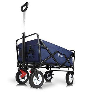 Sekey Faltbarer Bollerwagen mit Bremsen Faltwagen Handwagen Außenschubkarre Strandwagen
