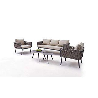 talfa Garten Lounge Aluminium Rope Sitzgruppe in Graubraun