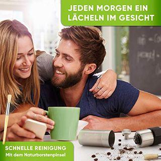 Blockhütte Kaffeemühle manuell mit komfortablem Keramikmahlwerk I Grau I Naturborsten Pinsel