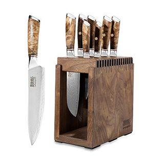 JUNYUJIANGCHEN Kochmesser Set Profi Damastmesser-Set Messerblock Messer Set 8-TLG