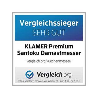 KLAMER Premium Santoku Damastmesser 18 cm