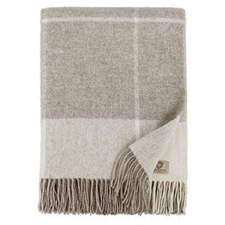 Linen & Cotton Luxus Wolldecke Olivia