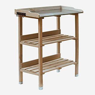 RM Design Pflanztisch Holz Zinkplatte Gartentisch Pflanzregal