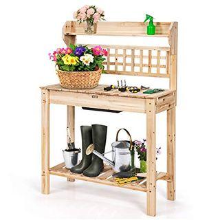 COSTWAY Gärtnertisch Holz Pflanztisch Garten Arbeitstisch Gartentisch