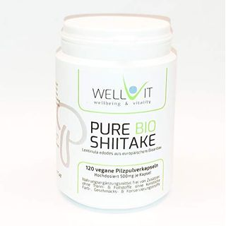 Pure Bio Shiitake 120 Kapseln je 500mg Lentinula edodes Vitalpilzpulver