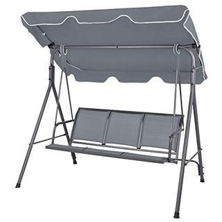 Montafox 3-Sitzer Hollywoodschaukel mit abnehmbarem und neigbarem Sonnendach Gartenschaukel für 3 Personen
