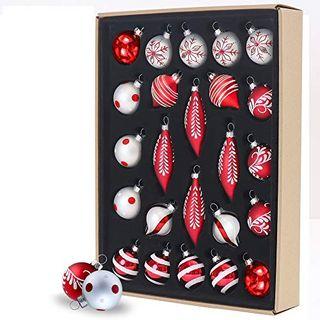 Valery Madelyn 24tlg.7-11cm Klassische Rot Weiß Glas Weihnachtskugeln