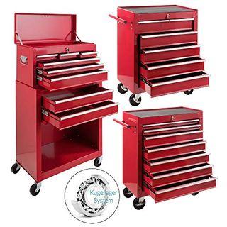 Arebos Werkstattwagen 9 Fächer rot